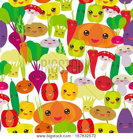 Seamless pattern Kawaii bell peppers pumpkin beets carrots eggplant red hot peppers cauliflower broccoli potatoes mushrooms cucumber onion garlic tomato radish white background. Vector illustration