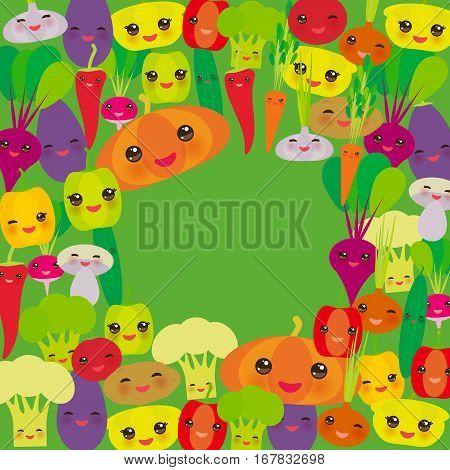 Round frame Kawaii bell peppers pumpkin beets carrots eggplant red hot peppers cauliflower broccoli potatoes mushrooms cucumber onion garlic tomato radish green background. Vector illustration