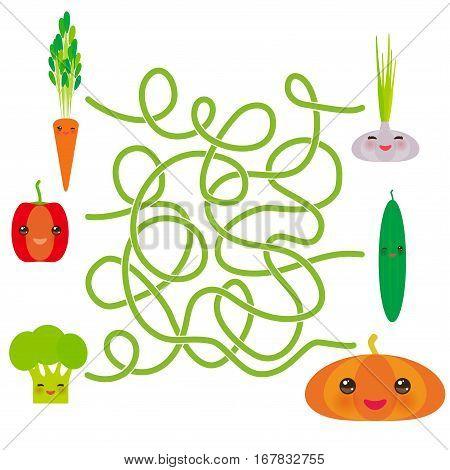 Kawaii vegetables on white background Pepper Broccoli Carrot Cucumber Garlic Pumpkin. labyrinth game for Preschool Children. Vector illustration