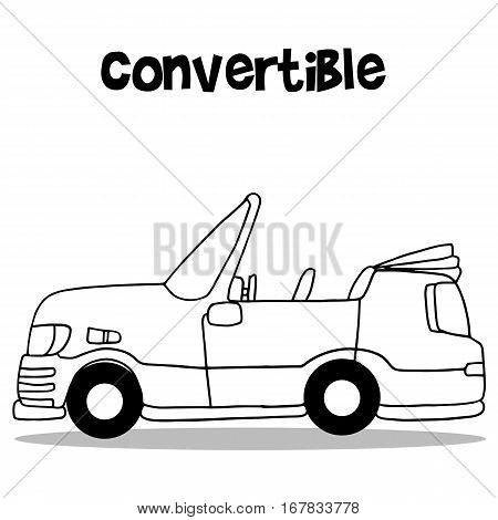 Convertible car vector art illustration collection stock