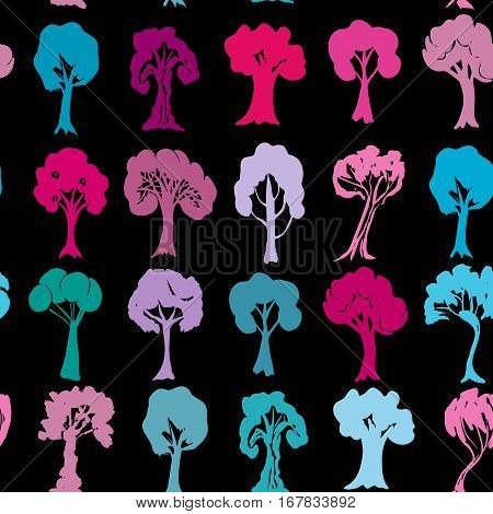 Seamless pattern Set of violet purple blue pink trees silhouettes on black background. Vector illustration