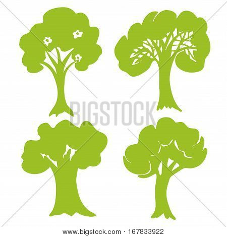 Hand drawn Tree collection. Set of green trees silhouettes isolated on white background. Vector illustration