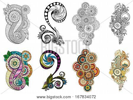 Ethnic floral zentangle, doodle background pattern in vector. Henna paisley mehendi tribal design element. Black and white patterns for coloring book for adults and kids, coloring version.