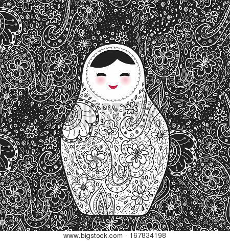 Russian doll matrioshka Babushka smiling face with pink cheeks sketch flowers and leaves contours on black background. Vector illustration