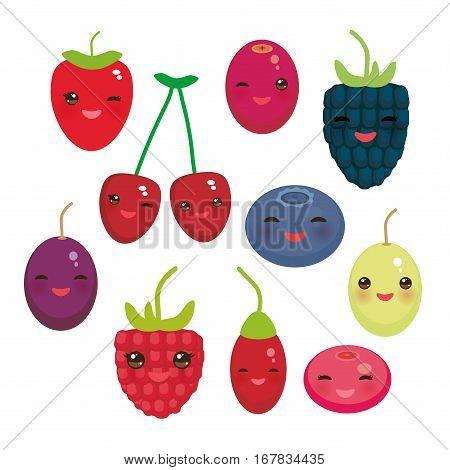 Kawaii Cherry Strawberry Raspberry Blackberry Blueberry Cranberry Cowberry Goji Grape Fresh juicy berries on white background. Vector illustration