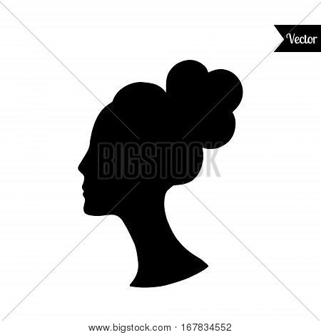 Women head vector black silhouette with high hear. Elegant female head profile.