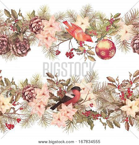 Christmas retro watercolor decorative seamless garland over white background