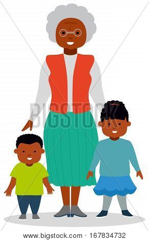 Grandmother with grandchildren, a boy and a girl. African-American family. African ethnic people. White background. Flat vector illustration
