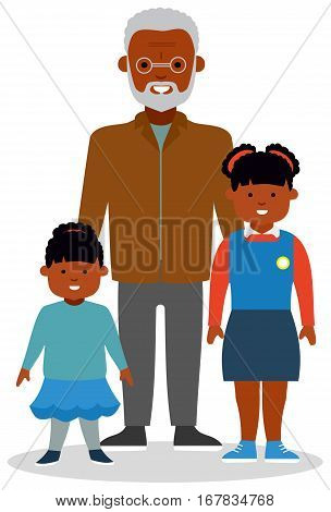 Grandfather with grandchildren, with two girls of different ages. African-American family. African ethnic people. White background. Flat vector illustration