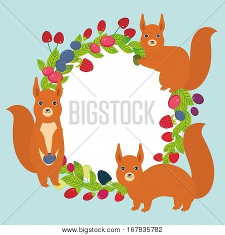 Round wreath with red squirrels Cherry Strawberry Raspberry Blueberry Cranberry Cowberry Goji Grape Fresh juicy berries on blue background. Vector illustration