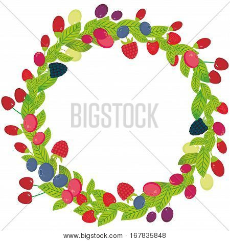 Round wreath with Cherry Strawberry Raspberry Blackberry Blueberry Cranberry Cowberry Goji Grapes Fresh juicy berries on white background. Vector illustration