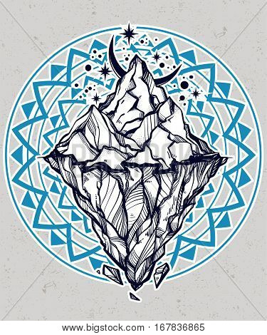 Hand drawn beautiful iceberg, sky with crescent moon. Glacier design. Isolated vector illustration. Tattoo, travel, adventure, retro symbol. Metaphor of hidden potential or opportunity.