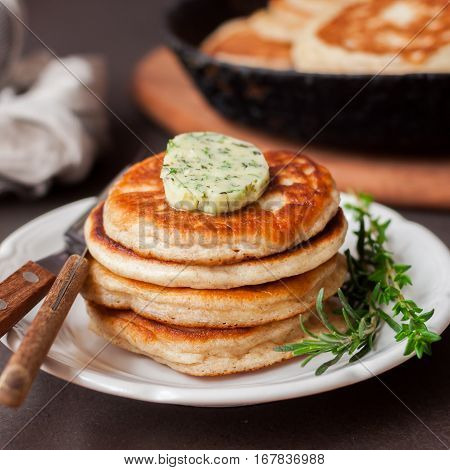 Fluffy Wholemeal Pancakes With Herbed Butter