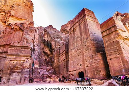 Rose Red Rock Tomb Afternoon Horses Street of Facades Petra Jordan. Built by the Nabataens in 200 BC to 400 AD. Afternoon turns yellow canyon walls in to rose red canyon walls. Inside the Tombs the rose red can become blood red.