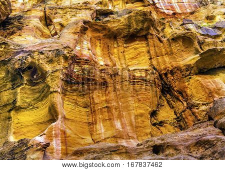 Yellow Cliffs Outer Siq Canyon Hiking To Entrance Into Petra Jordan Petra Jordan. Colorful Yellow Pink Canyon becomes rose red when sun goes.