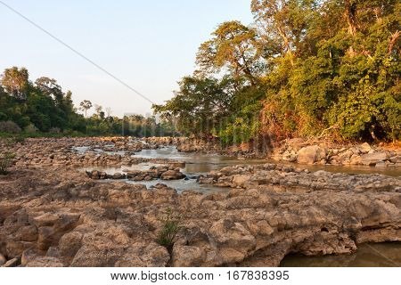 Ben Cu Rapids in Dong Nai River at sunset (dry season), Cat Tien National Park, Vietnam, Asia.