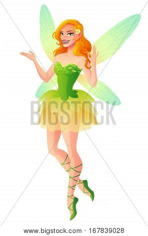 Beautiful fairy in green dress with dragonfly wings shows OK sign gesture. Cartoon style vector illustration isolated on white background.