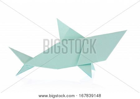Shark of origami. Isolated on white background