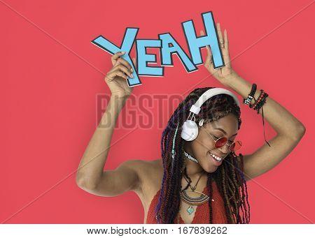 African Descent Female Yeah Headphones