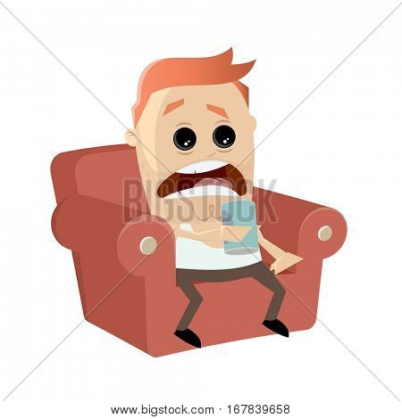 clipart of a bored man sitting on the sofa and drinking beer