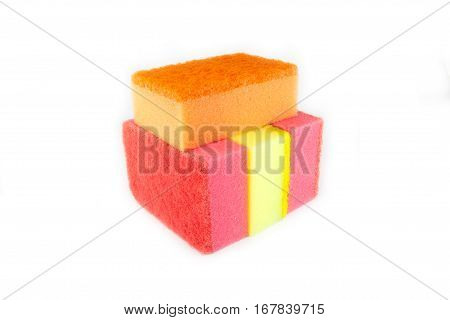 Sponge scouring pads on an isolated white background with a clipping path