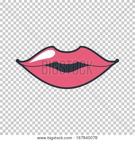 Lips quirky kiss. Vector patch, sticker isolated on a transparent background. Cool sexy pink lips. Selphie cartoon Sign for print, in comics, Fashion, pop art, retro style 80-s 90s