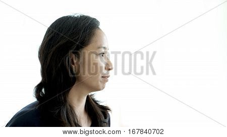 Asian Woman Looking Away, Think About Future, Thoughtful Face
