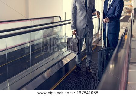Business Men Travel Luggage Escalator Talk