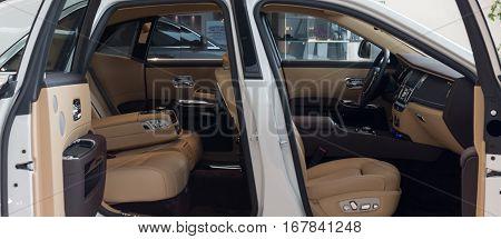 MUNICH - JANUARY 30: Rolls Royce Phantom interior. Photo taken in BMW Welt Munich Germany