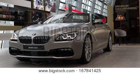 MUNICH - JANUARY 30: BMW 650i in BMW Welt Munich Germany