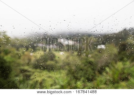 Rain Water Droplets On Glass Window With Scenic Greenery View