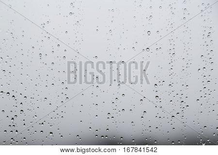 Rain Water Droplets On Glass Window With Gloomy Sky