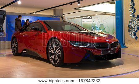 MUNICH - JANUARY 30: Red BMW i8 in BMW Welt