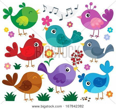 Stylized birds theme set 1 - eps10 vector illustration.