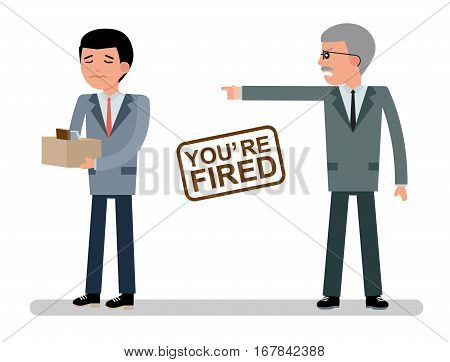 The chief dismisses the employee.  Boss getting fired by employee. Cartoon vector flat-style illustration