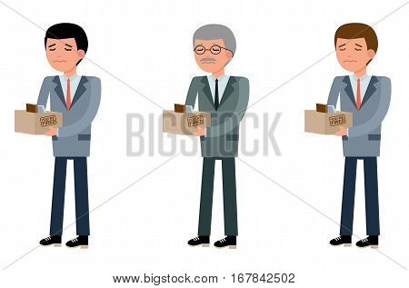 Business people of different ages, young, middle and elderly businessman is sad, they were fired. Set in flat design. Cartoon vector flat-style illustration