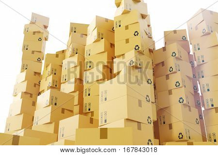 Package shipment, freight transportation and delivery concept, cardboard boxes, 3d rendering