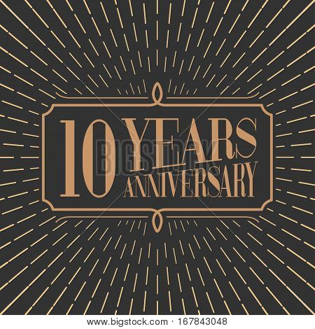 10 years anniversary vector icon logo. Gold color graphic design element for 10th anniversary birthday card