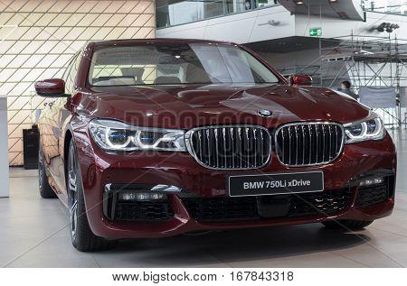 MUNICH - JANUARY 30: Saloon model of BMW 750Li in BMW Welt Munich Germany