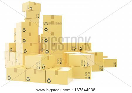Delivery business concept, stack of corrugated cardboard box, packages isolated on white, 3d rendering