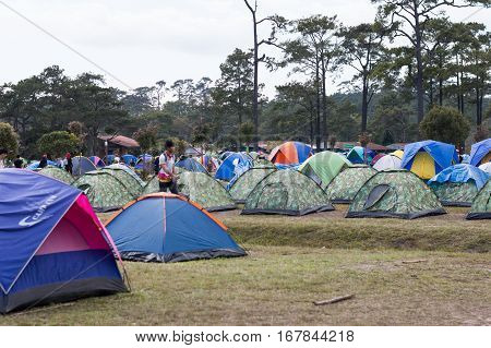Loei / Thailand - Dec 2016:Trips up the hill at Phu Kradueng National Park and Camping in Forest LoeiThailand on Dec 26 2016 in Loei Thailand.