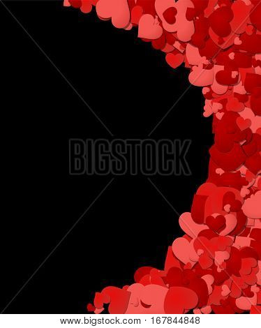 Black Love valentine's background with red and pink hearts. Vector illustration.