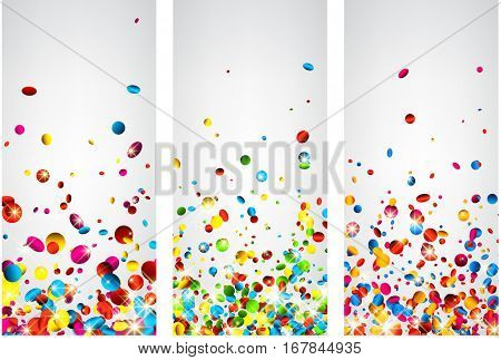 Festive white backgrounds set with colorful glossy confetti. Vector paper illustration.