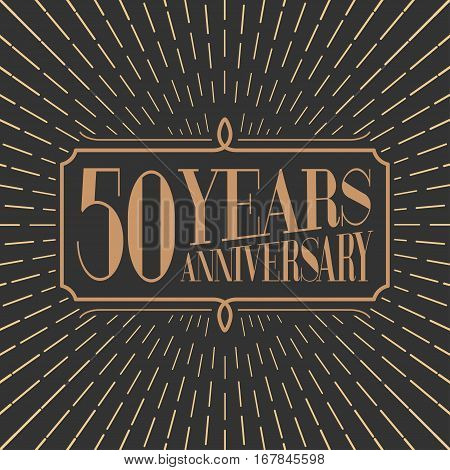 50 years anniversary vector icon logo. Gold color graphic design element for 50th anniversary birthday card