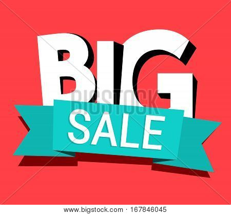 Big sale banner vector isolated on red. Retro template design with ribbon for print, brochure, presentation, poster, leaflet, booklet, Web site, Mobile app