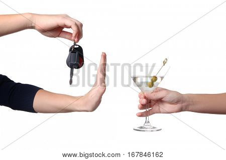 Hand of female driver refusing glass with alcoholic beverage, on white background. Don't drink and drive concept
