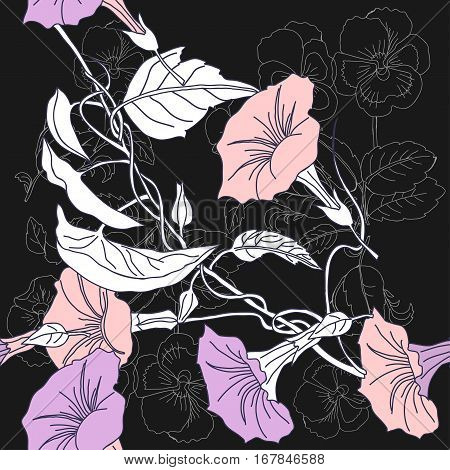 Spring seamless pattern with  pansies and pink bindweed