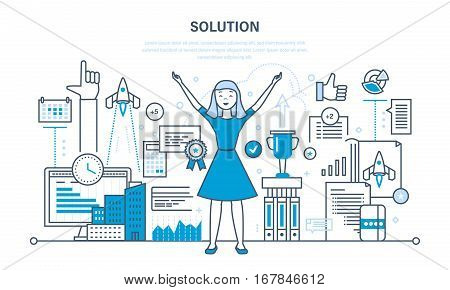 Solution concept. Success in work, knowledge acquisition, achieving goals, high quality results and development. Illustration thin line design of vector doodles, infographics elements.