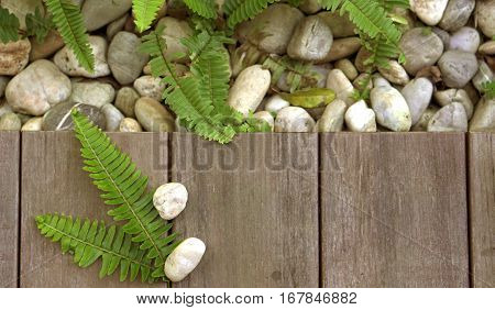 Fern And Pebble Stone On Wood Floor Texture Top View For Products Background
