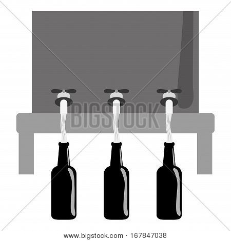 grayscale beer dispensers icon image design, vector illustration
